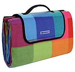 Songmics bunte Karomuster Fleece wasserdichte Picknickdecke