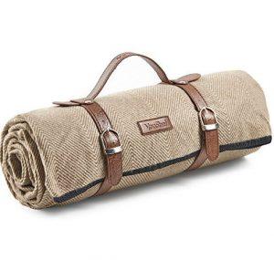 VonShef XL Picknickdecke mit Fischgrätenmuster/Fleecedecke mit Tragegurt aus Kunstleder und wasserfester Beschichtung